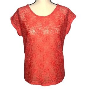 Needle & Thread Short Sleeve Lace Top in Coral